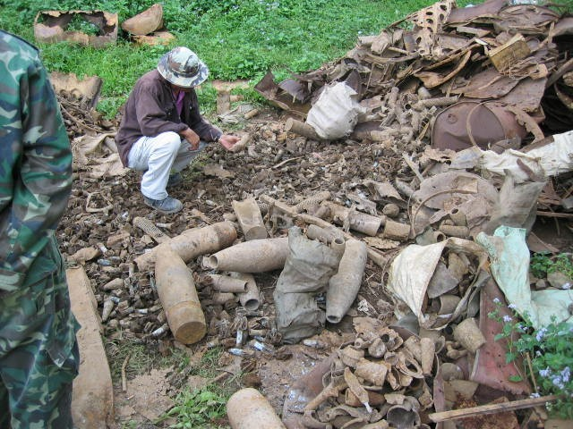 Unexploded ordnance recovered from village fields