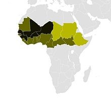 Regional distribution of the Fula (Fulani) across the Sahel - dark shading extensive/significant, light shading minor