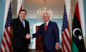 Libya GNA President Serraj meets US Secretary of State Rex Tillerson in Washington